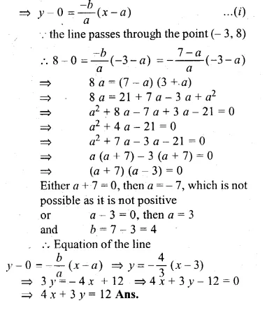 ML Aggarwal Class 10 Solutions for ICSE Maths Chapter 12 Equation of a Straight Line Chapter Test Q15.2