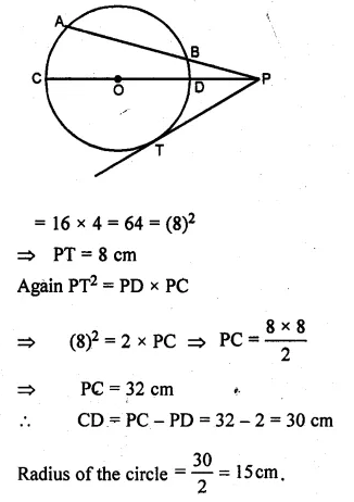 ML Aggarwal Class 10 Solutions for ICSE Maths Chapter 16 Circles Chapter Test Q12.3