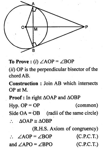 ML Aggarwal Class 10 Solutions for ICSE Maths Chapter 16 Circles Chapter Test Q8.1