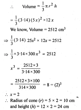 ML Aggarwal Class 10 Solutions for ICSE Maths Chapter 18 Mensuration Chapter Test Q10.1