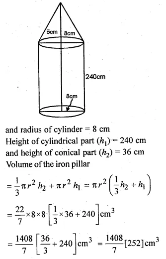 ML Aggarwal Class 10 Solutions for ICSE Maths Chapter 18 Mensuration Chapter Test Q13.1