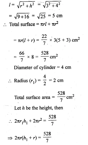 ML Aggarwal Class 10 Solutions for ICSE Maths Chapter 18 Mensuration Chapter Test Q15.1
