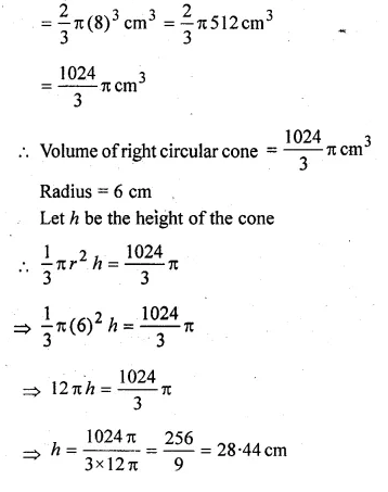 ML Aggarwal Class 10 Solutions for ICSE Maths Chapter 18 Mensuration Chapter Test Q19.1