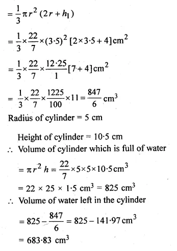 ML Aggarwal Class 10 Solutions for ICSE Maths Chapter 18 Mensuration Chapter Test Q24.2