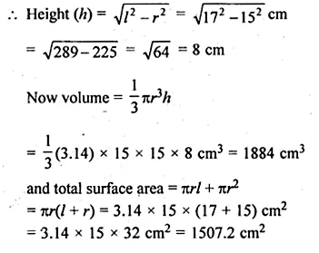 ML Aggarwal Class 10 Solutions for ICSE Maths Chapter 18 Mensuration Chapter Test Q3.1