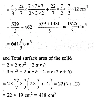 ML Aggarwal Class 10 Solutions for ICSE Maths Chapter 18 Mensuration Chapter Test Q9.2