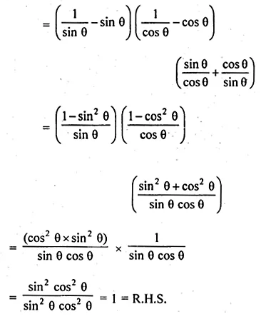 ML Aggarwal Class 10 Solutions for ICSE Maths Chapter 19 Trigonometric Identities Chapter Test Q5.2
