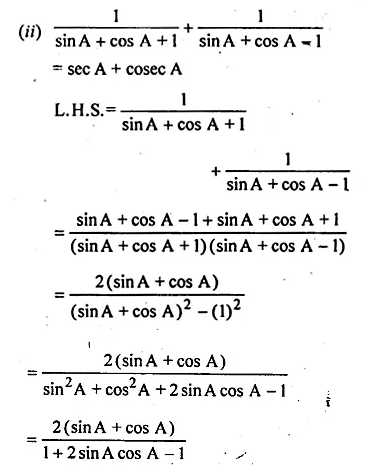 ML Aggarwal Class 10 Solutions for ICSE Maths Chapter 19 Trigonometric Identities Chapter Test Q7.2