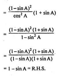 ML Aggarwal Class 10 Solutions for ICSE Maths Chapter 19 Trigonometric Identities Chapter Test Q8.2