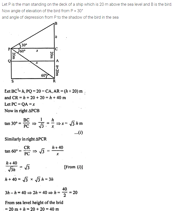 ML Aggarwal Class 10 Solutions for ICSE Maths Chapter 21 Heights and Distances Chapter Test Q10.1
