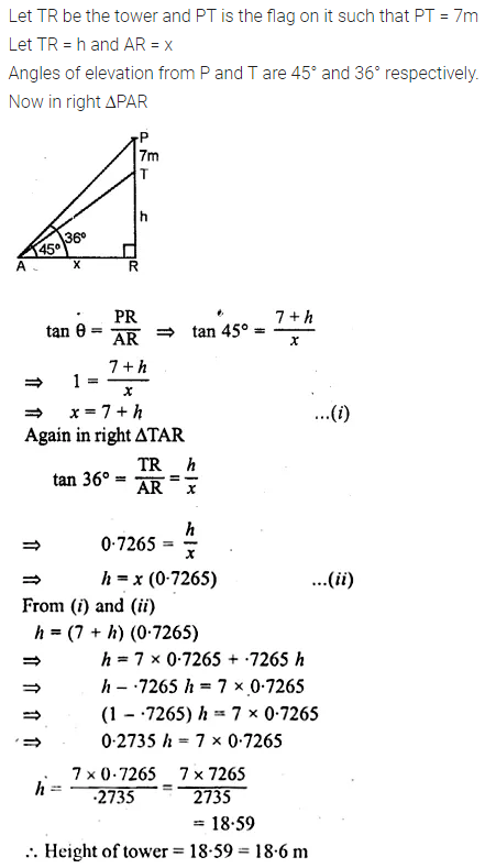 ML Aggarwal Class 10 Solutions for ICSE Maths Chapter 21 Heights and Distances Chapter Test Q3.1