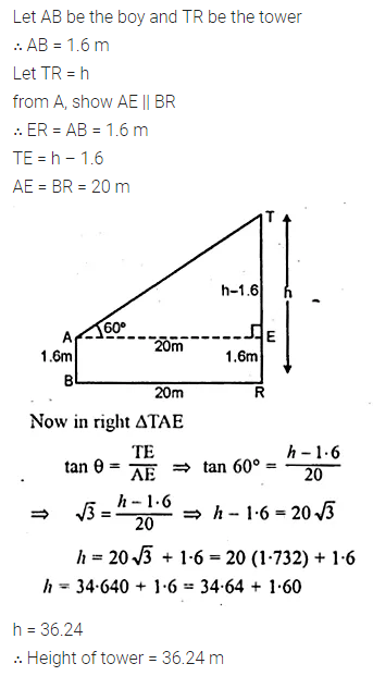 ML Aggarwal Class 10 Solutions for ICSE Maths Chapter 21 Heights and Distances Chapter Test Q4.1