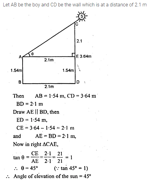 ML Aggarwal Class 10 Solutions for ICSE Maths Chapter 21 Heights and Distances Chapter Test Q5.1