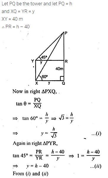 ML Aggarwal Class 10 Solutions for ICSE Maths Chapter 21 Heights and Distances Chapter Test Q6.2