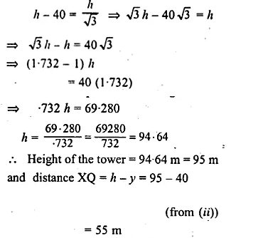 ML Aggarwal Class 10 Solutions for ICSE Maths Chapter 21 Heights and Distances Chapter Test Q6.3