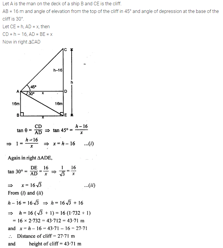 ML Aggarwal Class 10 Solutions for ICSE Maths Chapter 21 Heights and Distances Chapter Test Q8.1