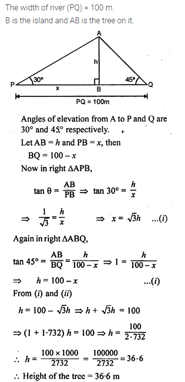 ML Aggarwal Class 10 Solutions for ICSE Maths Chapter 21 Heights and Distances Chapter Test Q9.1