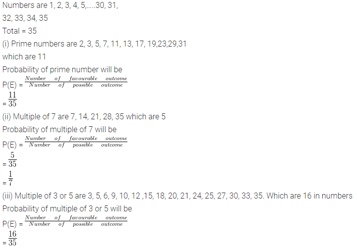 ML Aggarwal Class 10 Solutions for ICSE Maths Chapter 24 Probability Chapter Test Q9.1