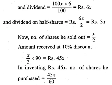 ML Aggarwal Class 10 Solutions for ICSE Maths Chapter 4 Shares and Dividends Chapter Test Q6.1