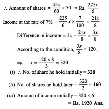 ML Aggarwal Class 10 Solutions for ICSE Maths Chapter 4 Shares and Dividends Chapter Test Q6.2