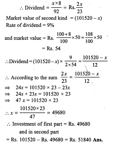 ML Aggarwal Class 10 Solutions for ICSE Maths Chapter 4 Shares and Dividends Chapter Test Q7.1