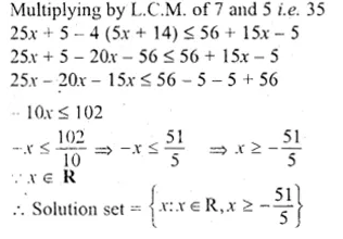ML Aggarwal Class 10 Solutions for ICSE Maths Chapter 5 Linear Inequations Chapter Test Q5.1