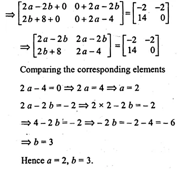 ML Aggarwal Class 10 Solutions for ICSE Maths Chapter 9 Matrices Chapter Test Q12.1