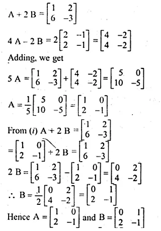 ML Aggarwal Class 10 Solutions for ICSE Maths Chapter 9 Matrices Chapter Test Q4.1