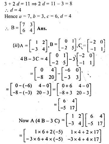 ML Aggarwal Class 10 Solutions for ICSE Maths Chapter 9 Matrices Chapter Test Q5.2