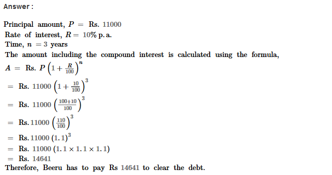 Compound Interest RS Aggarwal Class 8 Maths Solutions Ex 11B 11.1