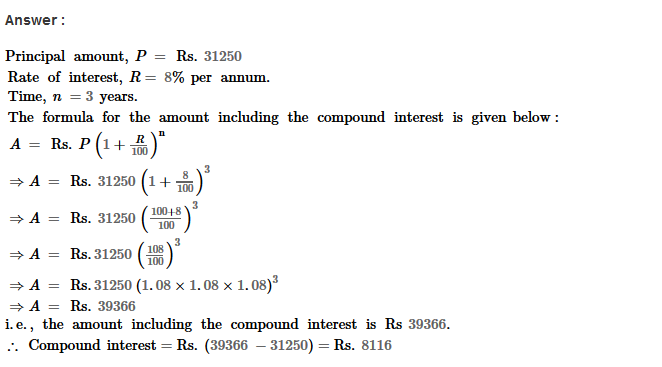 Compound Interest RS Aggarwal Class 8 Maths Solutions Ex 11B 5.1