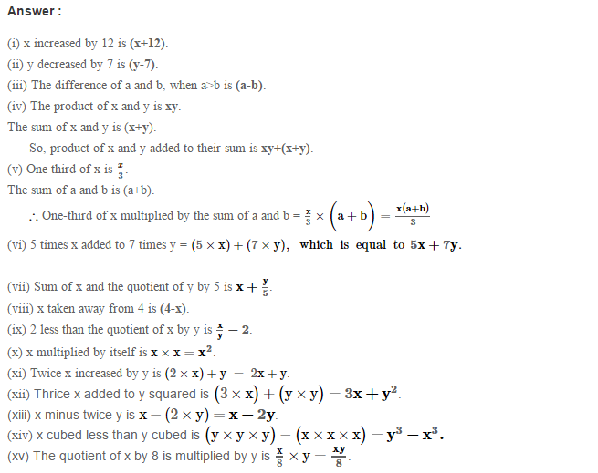 Algebraic Expressions RS Aggarwal Class 6 Maths Solutions Exercise 8A 1.1