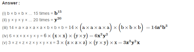 Algebraic Expressions RS Aggarwal Class 6 Maths Solutions Exercise 8A 3.1