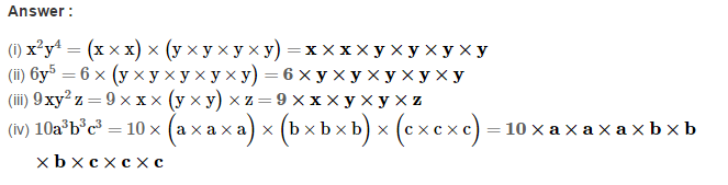Algebraic Expressions RS Aggarwal Class 6 Maths Solutions Exercise 8A 4.1