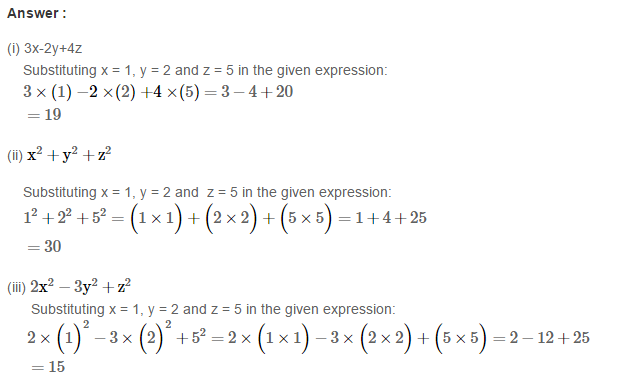 Algebraic Expressions RS Aggarwal Class 6 Maths Solutions Exercise 8B 2.1