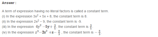 Algebraic Expressions RS Aggarwal Class 6 Maths Solutions Exercise 8B 6.1