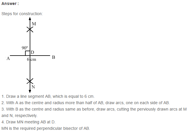Constructions RS Aggarwal Class 6 Maths Solutions CCE Test Paper 3.1