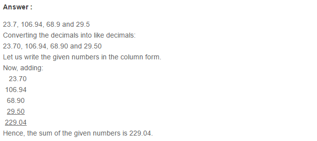 Decimals RS Aggarwal Class 6 Maths Solutions Exercise 7C 2.1