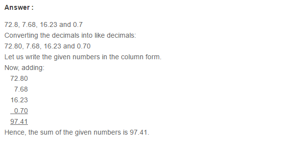 Decimals RS Aggarwal Class 6 Maths Solutions Exercise 7C 3.1