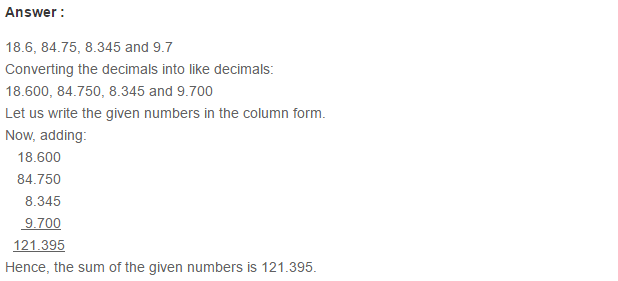 Decimals RS Aggarwal Class 6 Maths Solutions Exercise 7C 4.1