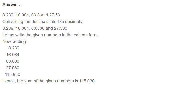 Decimals RS Aggarwal Class 6 Maths Solutions Exercise 7C 5.1