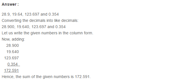 Decimals RS Aggarwal Class 6 Maths Solutions Exercise 7C 6.1
