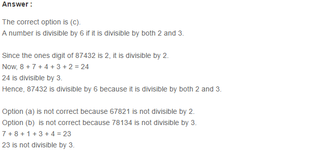 Factors and Multiples RS Aggarwal Class 6 Maths Solutions CCE Test Paper 15.1