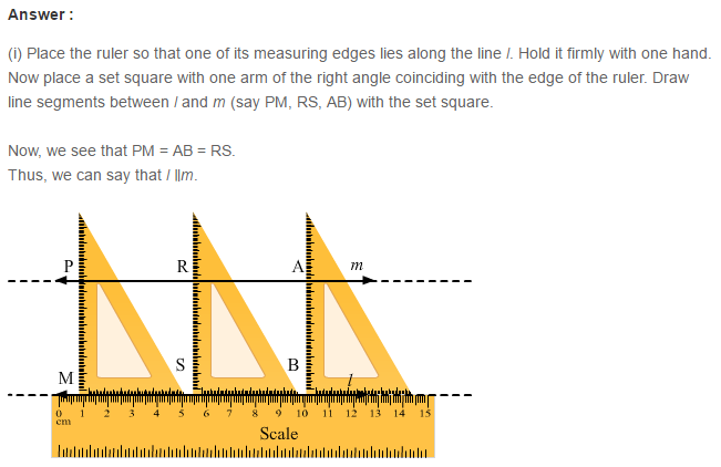 Parallel Lines RS Aggarwal Class 6 Maths Solutions 7.1