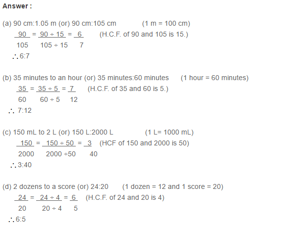 Ratio Proportion and Unitary Method RS Aggarwal Class 6 Maths Solutions CCE Test Paper 1.1