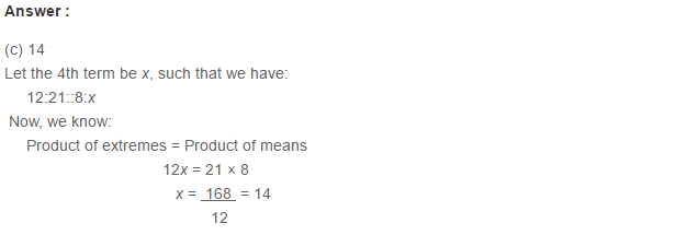 Ratio Proportion and Unitary Method RS Aggarwal Class 6 Maths Solutions CCE Test Paper 11.1