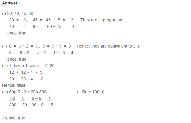 Ratio Proportion and Unitary Method RS Aggarwal Class 6 Maths Solutions CCE Test Paper 19.1