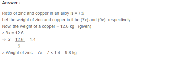 Ratio Proportion and Unitary Method RS Aggarwal Class 6 Maths Solutions CCE Test Paper 2.1