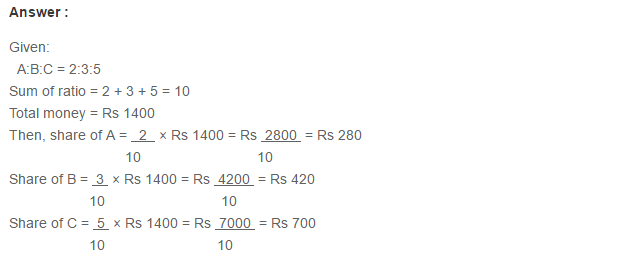Ratio Proportion and Unitary Method RS Aggarwal Class 6 Maths Solutions CCE Test Paper 3.1
