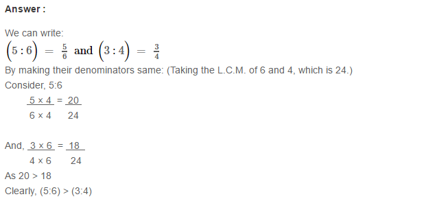 Ratio Proportion and Unitary Method RS Aggarwal Class 6 Maths Solutions CCE Test Paper 4.1